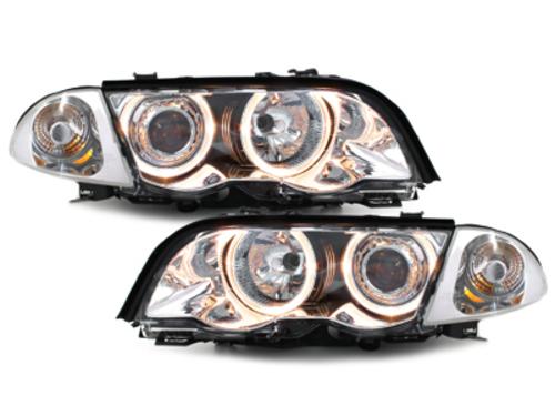 faros BMW E46 Lim. 98-01_2 anillos luz de posición_cromado