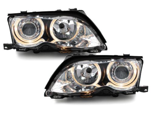faros BMW E46 Lim. 01-03_2 anillos luz de posición_cromado