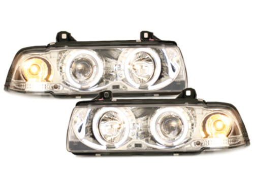 Fari BMW E36 Coupe/Cabrio 92-98 2 CCFL Angel Eyes chrome