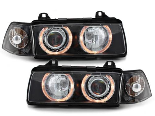 faros BMW E36 Lim. 92-98_2 anillos luz de posición_negro