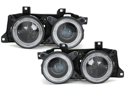 Fari BMW E32/34 5/7er 88-92 2 Angel Eyes black
