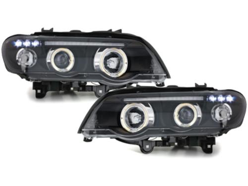 faros BMW X5 99-03 E53_2 anillos luz de posición_negro