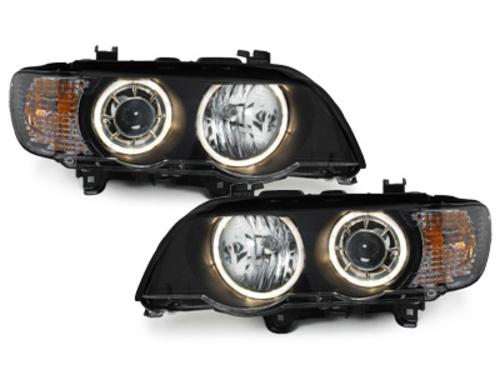 faros BMW X5 99-03 E53_HID_2 anillos luz de posición_negro