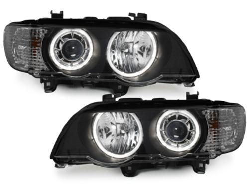 Faros Dectane BMW X5 99-04, E53_ 2 anillos de luz _ negro