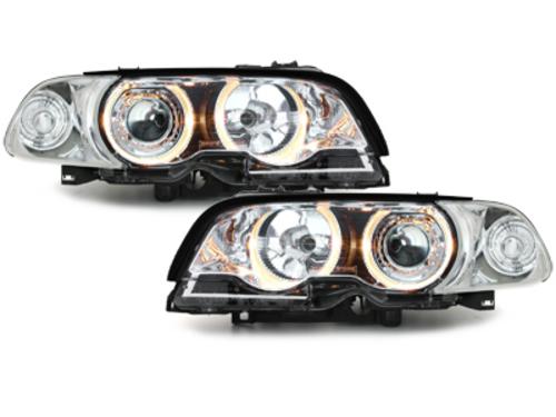 faros BMW E46 Coupé 98-02_2 anillos luz de posición_cromado