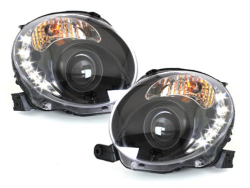 faros en la óptica de luz diurna DECTANE Fiat 500 07+_negro