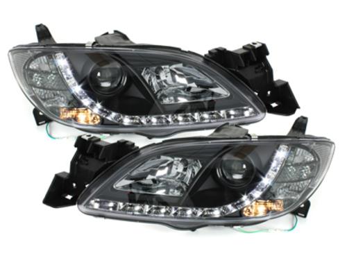 faros en óptica de luz diurna DECTANE Mazda 3 4p 03-08_negro
