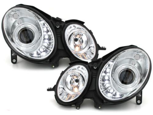 faros en la óptica de luz diurna DECTANE Mercedes B. W211 02-06_HID_cromado
