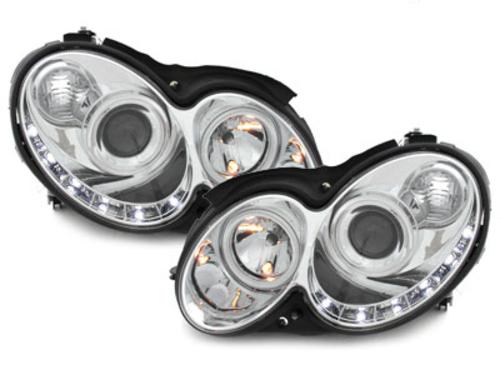 faros en la óptica de luz diurna DECTANE Mercedes Benz CLK W209 03-08_cromado