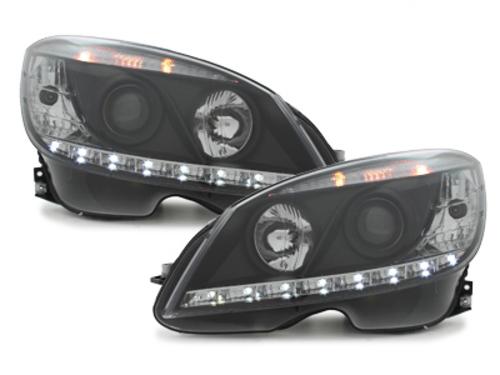 faros con luz diurna DECTANE Mercedes Benz clase C W204 07-12_negro