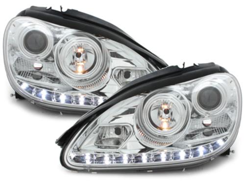 faros en la óptica de luz diurna Mercedes Benz W220 clase S 02-05_Xenón_ cromado