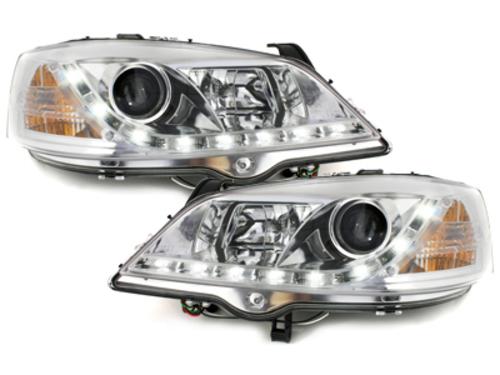 faros DECTANE Opel Astra G luz diurna_cromado