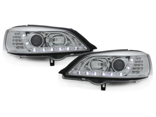 faros DECTANE Opel Astra G 98-04_óptica de luz diurna_cromado