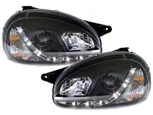 faros DECTANE Opel Corsa B 3/5p_óptica de luz diurna_negro
