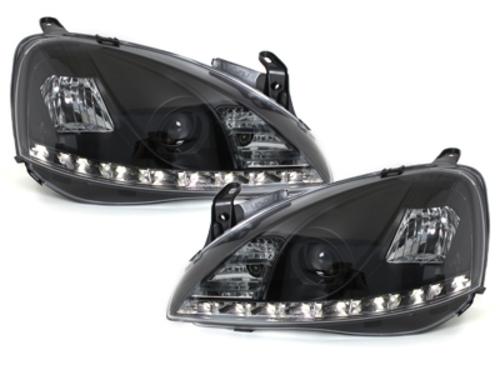 faros DECTANE Opel Corsa C 01-06_óptica de luz diurna_negro