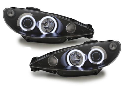 faros Peugeot 206 98-02_2 anillos luz de posición CCFL_negro