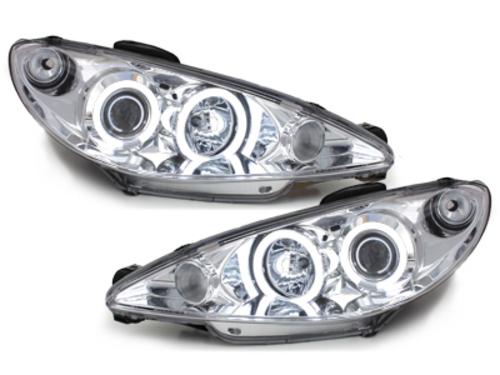 faros Peugeot 206 98-02_2 anillos luz de posición CCFL_cromado