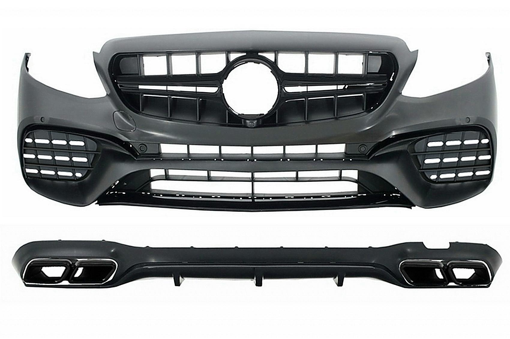 E63 Look Chrom Heckdiffusor Auspuff für Standard Mercedes E Klasse W213 16