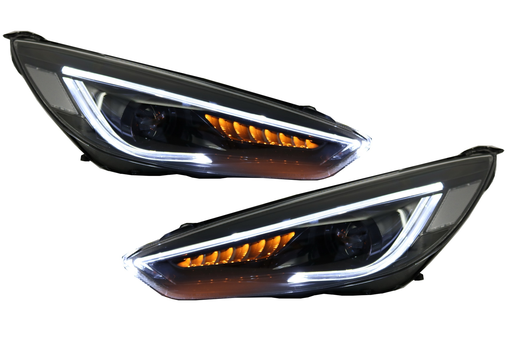 headlights led drl for ford focus iii mk3 15 17 bi xenon look dynamic flowing ebay. Black Bedroom Furniture Sets. Home Design Ideas