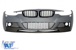 Ansamblu Bara Fata compatibil cu BMW Seria 3 F30 F31 Sedan Touring (2011-up) M-Performance Look cu Grile Centrale Piano Black - COFBBMF30MPDP