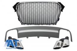 Ansamblu Difuzor Bara Spate cu Ornamente Evacuare si Grila Centrala compatibil cu AUDI A4 B8 Facelift (2012-2015) Sedan/Avant RS Design - COFGAUA4B8FS4RS