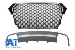 Ansamblu Difuzor Bara Spate si Grila Centrala compatibil cu AUDI A4 B8 Facelift (2012-2015) Sedan/Avant RS Design - COFGAUA4B8FS4