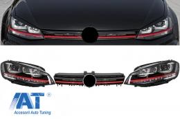 Ansamblu Faruri 3D Semnal Dinamic LED cu Grila compatibil cu VW Golf 7 VII (2012-2017) R20 GTI Design Rosu - COHLVWG7GTILEDFW