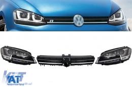 Ansamblu Faruri 3D Semnal Dinamic LED cu Grila compatibil cu VW Golf 7 VII (2012-2017) R Design Argintiu - COHLVWG7RLLEDFW