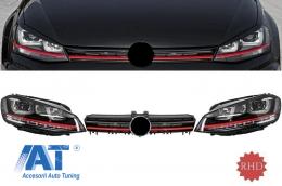 Ansamblu Faruri 3D Semnal Dinamic LED cu Grila compatibil cu VW Golf 7 VII (2012-2017) R20 GTI Design Rosu - COHLVWG7GTILEDFWRHD