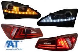Ansamblu Faruri Dayline LED DRL compatibil cu LEXUS (2006-2013) cu Stopuri XE20 IS250/IS350/ XE30 Facelift Design - COHLLXIS200BRC