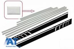 Bandouri Laterale Brushed Aluminum cu Stickere Laterale Negru compatibil cu MERCEDES G-Class W463 (1989-2017) - CODMMBW463AMGS