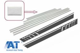 Bandouri Laterale Brushed Aluminum cu Stickere Laterale Gri Inchis compatibil cu MERCEDES G-Class W463 (1989-2015) - CODMMBW463AMGSDG