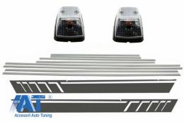 Bandouri Laterale cu Stickere Laterale Gri Inchis si Lampi Semnalizare compatibil cu MERCEDES G-class W463 (1989-2015) - CODMMBW463AMGSTRLCDG