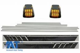 Bandouri Laterale cu Stickere Laterale Negru Mat si Lampi Semnalizare Fumuriu compatibil cu MERCEDES G-Class W463 (1989-2015) - CODMMBW463AMGSMBCLED