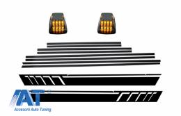 Bandouri Laterale cu Stickere Laterale Negru Mat si Lampi Semnalizare compatibil cu MERCEDES G-Class W463 (1989-2015) - CODMMBW463AMGMBLED