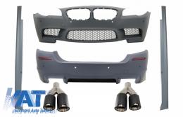 Bara Fata Bara Spate Praguri Laterale + Tobe Ornamente Sistem de evacuare Carbon Fiber compatibil cu BMW Seria 5 F10 11+ M5 Design +PDC SRA - COCBBMF10M5SSKLT