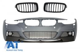 Bara Fata compatibil cu BMW Seria 3 F30 F31 Sedan Touring (2011-up) M-Performance cu Grile Centrale Negru Lucios