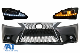 Bara Fata compatibil cu LEXUS IS XE20 (2006-2013) IS F Sport Facelift Design cu Faruri LED DRL Negru - COFBLXIS200H