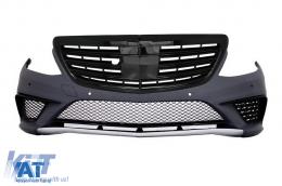 Bara Fata compatibil cu MERCEDES Benz W222 S-Class (2013-06.2017) S63 Design cu Grlia Centrala Negru Lucios - COFBMBW222AMGS63BPB