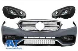 Bara Fata compatibil cu Mercedes E-Class W212 E-Class Facelift (2013-2016) E63 Design cu Faruri LED Xenon Design - COFBMBW212FAMGHL