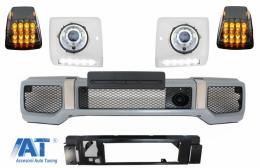 Bara Fata compatibil cu MERCEDES G-Class W463 (1989-2012) si Carcasa faruri cu Lumini de zi dedicate LED DRL cu Faruri Crom si Lampi Semnalizare LED G65 Design - COFBMBW463AMGPC