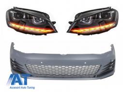 Bara Fata  compatibil cu VW Golf VII Golf 7 2013-up GTI Look cu Faruri 3D DRL R20 GTI Design Semnal Dinamic LED