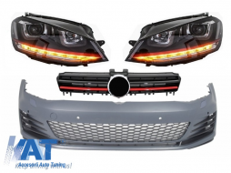 Bara Fata  compatibil cu VW Golf VII Golf 7 2013-up GTI Look cu Faruri 3D DRL R20 Semnal Dinamic LED si Grila