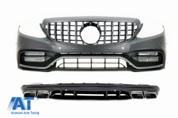 Bara Fata Completa cu Difuzor si Ornamente Evacuare compatibil cu Mercedes C-Class W205 S205 AMG Sport Line (2014-2020) C63S Design - COCBMBW205C63SFBOCCN