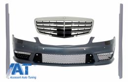 Bara Fata Completa cu Grila Centrala compatibil cu Mercedes W221 S-Class S63 S65 Design 05-10 si Praguri Laterale Scurte - COFBMBW221S65FSS