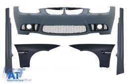 Bara Fata cu Aripi si Praguri Laterale compatibil cu BMW Seria 3 E92 Coupe E93 Cabrio (2006-2009) M3 Design Cu PDC Fara Proiectoare - COCBBME92M3PWFFFSS