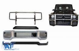 Bara fata cu BullBar Prelungire Bara Fata LED DRL si Prelungire Superioara Bara Fata compatibil cu MERCEDES G-Class W463 (1989-2017) Negru - COFBMBW463AMGBBK