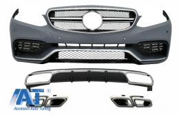 Bara Fata cu Difuzor Bara Spate si Ornamente Tobe Crome compatibil cu Mercedes W212 E-Class Facelift (2013-2016) pentru Bara Spate Standard - COCBMBW212AMGN63WOL