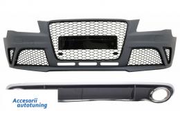 Bara Fata cu Difuzor Bara Spate si Ornamente Evacuare compatibil cu AUDI A4 B8 Pre-Facelift (2008-2011) RS4 Design - COCBAUA4B8RS