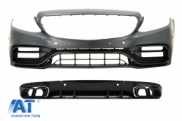 Bara Fata cu Difuzor Spate compatibil cu Mercedes C-Class A205 Cabriolet C205 Coupe (2014-2019) C63 Design Negru - COFBMBW205FAMGBWOGRDB